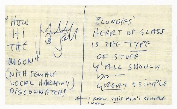 Postcard: John Lennon to Ringo Starr; Heart Of Glass