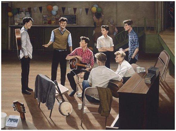 Ilustración que recrea el momento en que Ivan Vaughan presenta a John lennon (16 años), Paul McCartney (15 años). By Eric Cash.