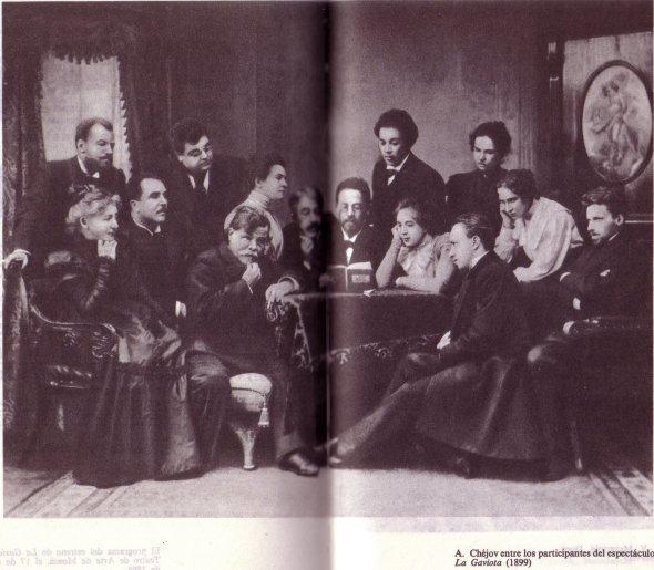 Chéjov leyendo La gaviota al Teatro de Arte de Moscú junto Stanislavski y Danchenko