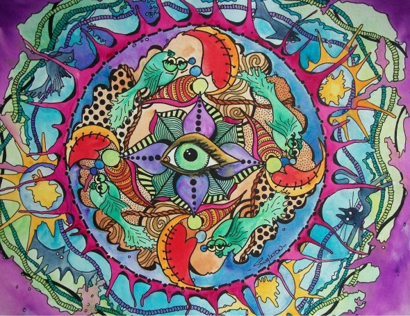 The Psychedelic Eye of the Storm Singleton Hippie Art 001
