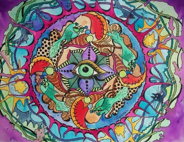The Psychedelic Eye of the Storm Singleton Hippie Art 001