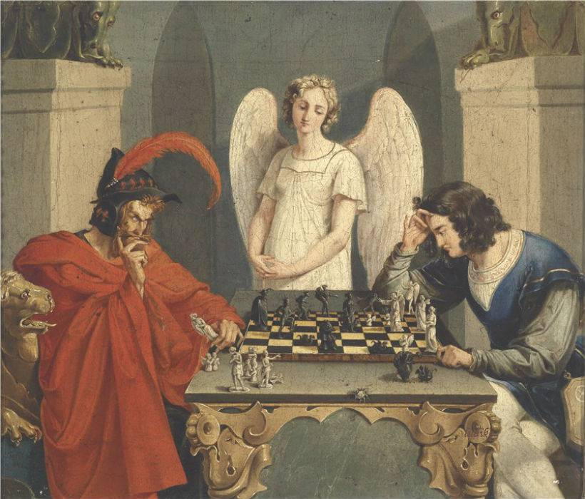 Unknown Artist 19th Century Faust and Mephistopheles playing chess